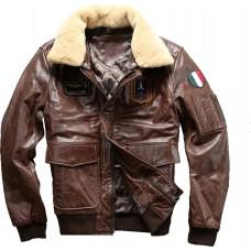 кожаная куртка бомбер AERONAUTICA MILITARE A-2