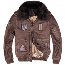 кожаная куртка бомбер винтаж с летными нашивками