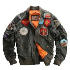 кожаная курта бомбер MA-1
