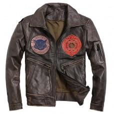 кожаная куртка авиатор винтаж с летными нашивками
